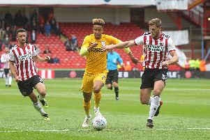 Callum Robinson in action for Preston against Sheffield United - the club he is about to join - in September 2018