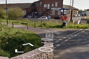 The cycle path is closed near The Trimpell Club in Morecambe. Photo courtesy of Google Streetview.