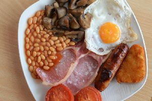 An undated file image of an all-day breakfast, which detainees are offered by Lancashire Police