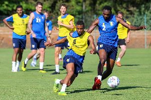 Mansfield's players during a training exercise.