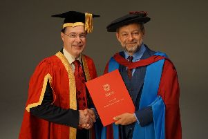 And Serkis (right) with Lancaster University Vice Chancellor Prof Mark E. Smith.