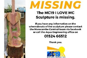 The MC19 I Love MC sculpture has gone missing from outside The Midland hotel, said carnival organisers.