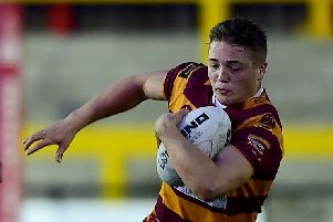 Archie Bruce, pictured in action for Dewsbury Moor during last season's Jim Brown Cup Final, was found dead after making his professional debut for Batley Bulldogs in Toulouse last Saturday.