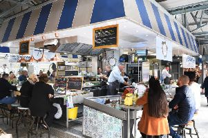 Clam & Cork is a former fish stall in Doncaster's indoor market hall