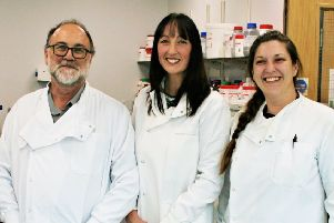 Prof David Allsop and Dr Penny Foulds with Dr Norah Ulzheimer.
