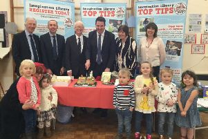 Rob Waltham, MP Andrew Percy, Couns Julie Reed and John Briggs and Sandra Simmons with pupils