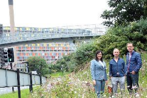Dan Cornwall or Pictorial Meadows with Janene Scurfield of Enterprise Rent-A-Car with Nigel Dunnett from the University of Sheffield at Park Square Roundabout where the roundabout has been planted with new flowers, Sheffield, United Kingdom on 15 July 2016. Photo by Glenn Ashley Photography