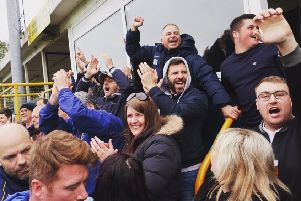 There were jubilant scenes at the i2i Stadium as Tadcaster Albion secured an Evo-Stik North play-off spot after victory over Mossley. Picture: David Lindsay