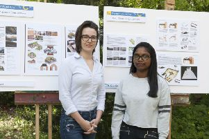 College learners Emily Oliver and Kiruthiga Thirumeni with their successful awards entries