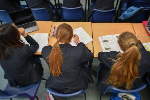 Students study in class at Royal High School Bath, which is a day and boarding school for girls aged 3-18 and also part of The Girls' Day School Trust, the leading network of independent girls' schools in the UK.