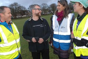 Harrogate Parkrun - The Harrogate Advertiser's Graham Chalmers with Parkrun volunteer leaders Sean Brennan, Alex Whapples and Caroline Rainbow.  (1812221AM2)
