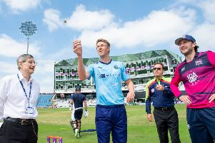 LEADING MAN: Yorkshire captain Steve Patterson tosses the coin with Northants skipper Alex Wakely. Picture: Allan McKenzie/SWpix.com