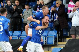 Chesterfield FC v Sutton Utd.'Tom Denton celebrates his third goal.