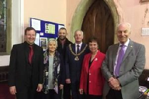 Pictured after the concert are (from left to right) Jeff Borradale Director of the Blackburn People's Choir,  Maureen Brown,  Robert Foreman of the Unitarian Chapel, The Mayor of Burnley Coun. Charlie Briggs, Peggy Green and Barry Brown who are organisers of the concert.