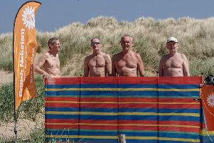 Naturists on the beach at St Annes on Saturday, May 5, 2018. From left-right: George Booth from Fleetwood, Les Vincent, Ron O'Hare, and Alain, who declined to give his surname
