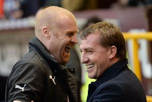 Sean Dyche and Brendan Rodgers share a joke