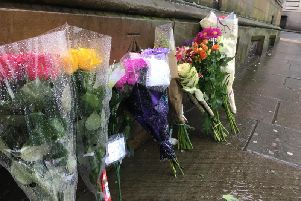 Tributes for Levi Ogden, next to Silver Street, Halifax