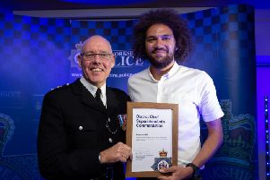 Mr Hill was awarded by Chief Superintendent Dickie Whitehead at the Shay Stadium, on October 23.