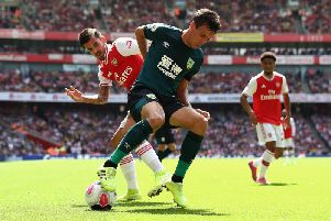 Burnley's Jack Cork and Arsenal's Dani Ceballos at the Emirates earlier in the season