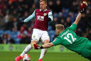 Matej Vydra of Burnley scores the opening goal during the Premier League match between Burnley FC and AFC Bournemouth at Turf Moor on February 22, 2020