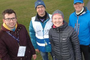 Success! Working towards a new parkrun - Members of Knaresborough Striders James Wright, Mark Taylor, Linda Dodsworth and Sean Brennan. (1901261AM1)