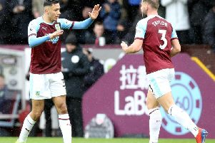 Burnley's Dwight McNeil (left) celebrates with team-mate Charlie Taylor after scoring his side's equalising goal to make the score 1-1