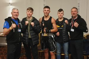 Halifax ABC at Leeds'Club chief Mick Rowe, Lewis Parkinson, Jordan Healey, Rhys Sanasy and coach Jonny Maude