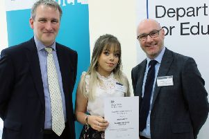 From left, Damian Hinds MP, Aaryanna Lever and Kieran McGrane.