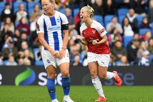 Beth Mead celebrates her screamer against Brighton. Picture: Getty Images.