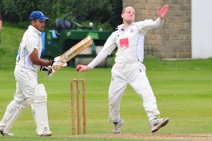 Photo: David Hurst'Worsley Cup Final between Nelson CC V Burnley CC at Nelson Cricket Club.'Nelson's Neil Thompson and Barrat Tripathi