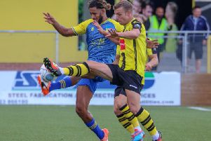 Jack Muldoon in action for Harrogate Town during last season's home win over Solihull Moors. Picture: Matt Kirkham