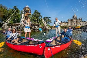 The Countryfile presenters having fun in the Castle Howard fountain
