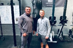 Strength and conditioning coach Colin McCash (left) with boxer Joshua Holmes at Salute Fitness in Burnley