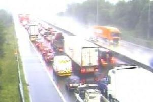 There is heavy congestion on the M6 southbound after an accident near Wigan this morning (September 11)