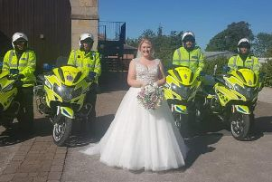 Lisa Jowitt made it to her wedding at the Engine Shed in Wetherby on Saturday with the help of police escorts.