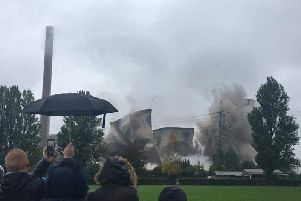 Thousands of people watched the final demolition event at Ferrybridge Power Station this morning.