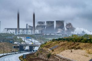 Four of Ferrybridge Power Station's cooling towers were demolished yesterday morning in a spectacular event.