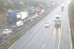 Delays on the M62 at Wakefield could last all day, West Yorkshire Police's roads unit has said.
