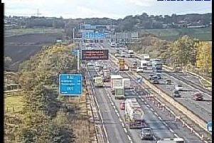 Two lanes of the M62 at Wakefield are to remain closed throughout the day after a serious defect was identified in the carriageway. Photo: Highways England.