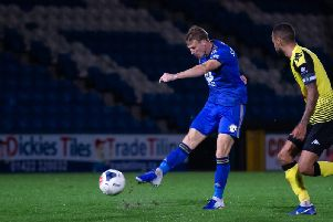 Dayle Southwell in action during Halifax's 1-0 defeat to Harrogate at The Shay last month.
