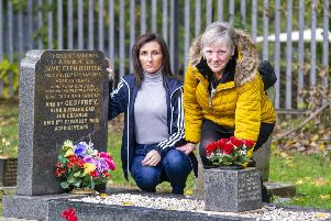 Claire Moffat and her mother Dawn Lifsey at the grave site.