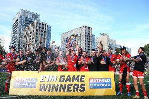 Toronto Wolfpack celebrate clinching promotion to Betfred Super League. Picture by  Vaughn Ridley/SWpix.com.