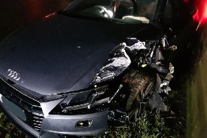 A crash on the M1. Photos provided by PC Martin Willis of West Yorkshire Police.