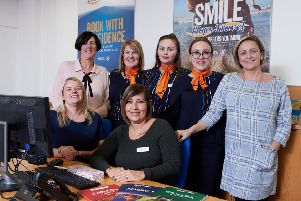 Ex-Thomas Cook staff in Castleford had their jobs saved after Hays Travel took over. Pictured are Leanne Tomlinson, Claire Hill, Karen Booth, Kelly Norton, Emily Hough , Holly Simpkins and Lisa Holdsworth.