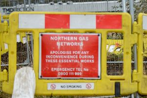 Northern Gas Networks barriers. Picture by FRANK REID