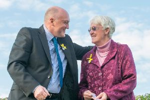 Elsie's siblings Colin Frost and Ann Cleave at a memorial to their sister in 2016.