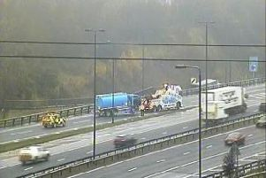 A tanker has broken down on the M1. Photo provided by Highways England.