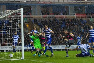 Jack Harrison scores the winning goal for Leeds United at Reading. Picture: Bruce Rollinson