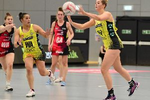 England goal shooter Eleanor Cardwell in action for Manchester Thunder  Picture: GETTY IMAGES