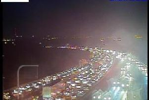 Traffic has been stopped on the M1 at Wakefield this evening after a multi vehicle accident. Photo: Highways England